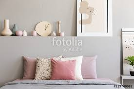 bed room pink. Pink And White Pillows On Grey Bed In Pastel Bedroom Interior With Poster Bedhead. Room S