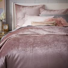 blush sheets queen washed cotton luster velvet duvet cover shams dusty blush west elm