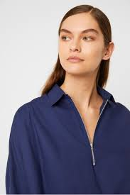 Ava Rhodes Poplin Zip Detail Shirt | Tops | French Connection