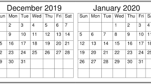 Word 2020 Calendars December January 2020 Calendar Excel Word Printable