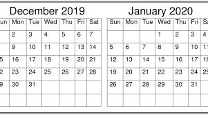 2020 Calendar Editable December January 2020 Calendar Excel Word Printable