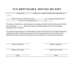Non Refundable Deposit Receipt Non Refundable Deposit Non Refundable ...