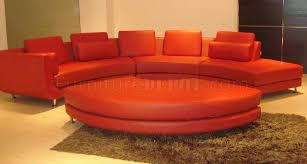 a94 red half leather modular 4pc sectional sofa by vig