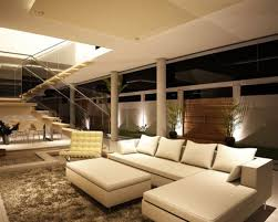 Large Living Room Decorating White Fabric Simple Windows Curtain Chrome Shade Suspended Lights