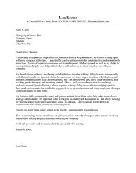Customer Service Representative Cover Letter Template Customer