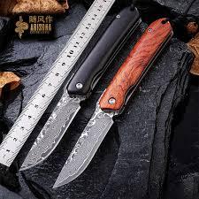 WIND Damascus steel knife, boutique outdoor <b>bearing folding</b> knife ...