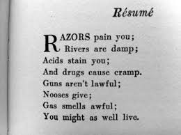 depression suicide anxiety poetry Dorothy Parker. Resume by Dorothy Parker