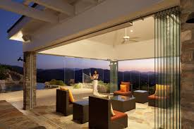 home design beautiful warm living room with frameless retractable