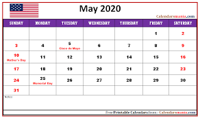 April May 2020 Calendar Printable Monthly 2020 The United States Usa Holidays Calendar