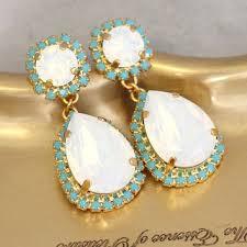 white opal turquoise chandelier swarovski chandelier earrings white opal statement ear