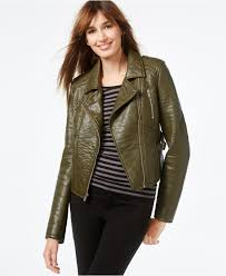 womens olive green leather jacket fit