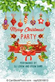 Christmas Invitation Card Merry Christmas Holiday Party Vector Poster