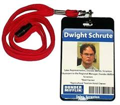 Badge Office The Office Tv Show Dwight Schrute Dunder Mifflin Official Id Badge Prop