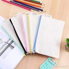 20 13cm blank diy pencil case canvas zipper pencil pouch graffiti creative organizer bag school supplies art pencil box for s and kids pencil case