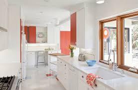 white kitchen and salmon walls