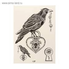 татуировка переводная ворон черно белая 027 3599296 купить