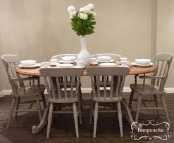 gray painted dining room table. oval dining table \u0026 six chairs   vintage painted furniture chalk paint by annie sloan gray room