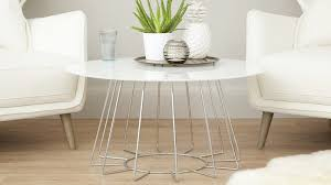 round white glass and chrome coffee table