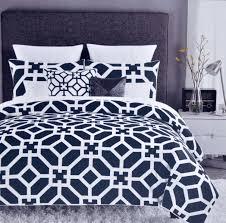 com max studio modern lattice geometric pattern 3pc duvet cover set navy blue home kitchen