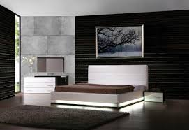Modern Furniture For Bedroom Lorezo Contemporary Platform Bed With Lights Contemporary Bedroom