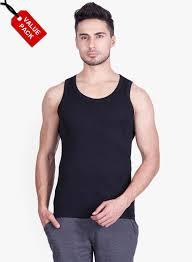 Onn Pack Of 3 Multicoloured Solid Regular Fit Round Neck Vests