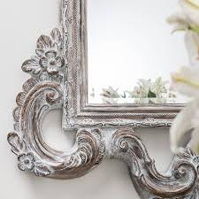 large white wash carved wood effect mirror