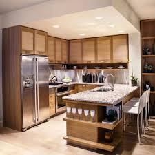 Kitchen Furnishing Elegant Brown Wooden L Shape Transitional Furniture Kitchen