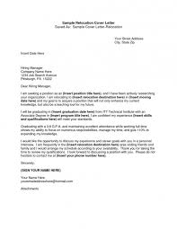 Cover Letter Relocation Examples Letter Template