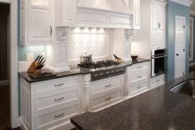 White Kitchen Black Granite Grey Countertops Glossy Kitchen Countertop And Grey Subway Tile