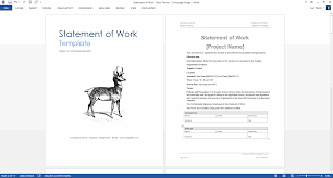 Template Of Statement Statement Of Work Template Ms Word Excel Templates