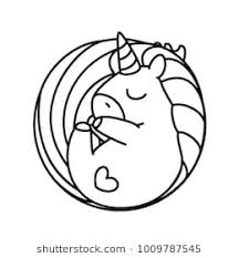 drawing card 09 vector cute unicorn black linear art magic fantasy pony with horn cartoon coloring book