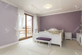 Purple Bedroom White Furniture Tuscany Interior Of Purple Bedroom With White Furniture Stock