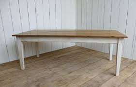 victorian floorboard table in white distressed finish and tapered legs