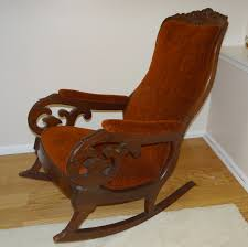 antique victorian gany upholstered rocking chair