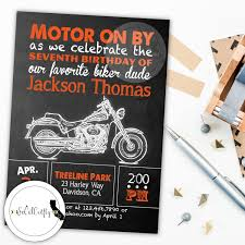 Harley Davidson Party Decorations Harley Davidson Birthday Party Invitation Chalkboard