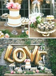 Table Centerpieces For Engagement Party Gold Love Balloons Behind