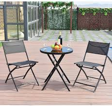 metal round patio table set outdoor garden bistro coffee tables 2 deck chairs