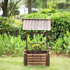 wishing well planter wooden lawn garden yard decor flower decorative n7h0