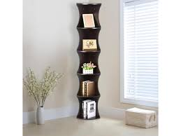 yaheetech 5 tier wood round wall corner shelf slim bookshelf bookcase tall display rack