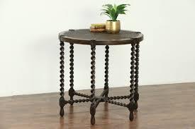 english tudor 1910 antique round lamp or hall center table rope twist legs