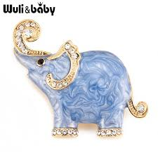<b>Wuli&baby White Blue Elephant</b> Enamel Brooches For Women And ...