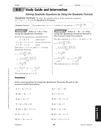 5 3 study guide and intervention solving quadratic equations by