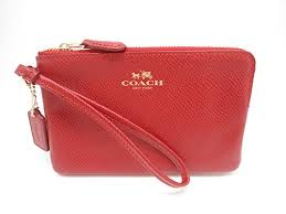 Coach Leather Corner Zip Wristlet, True Red