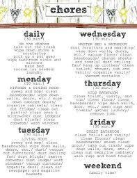 Household Chore Chart Household Chore List Template Williambmeyer Co