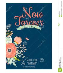 Romantic Date Invitation Template Wedding Romantic Floral Save The Date Invitations Stock Vector