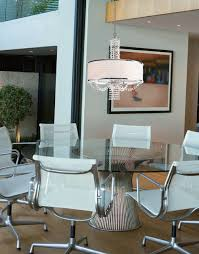 contemporary crystal chandelier with white drum silk shade contemporary dining room
