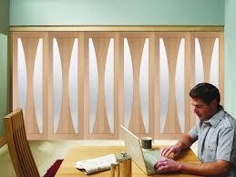 freefold verona obscure glass oak internal folding sliding doors