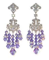tanzanite purple crystal chandelier earrings swarovski elements prom pageant