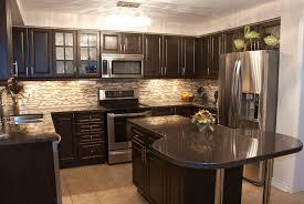 Kitchen:Granite Countertops Beige Ceramic Flooring Kitchen Ideas Black  Appliances Modern Light Brown Cabinets White