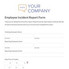 Sample Employee Incident Report Letter Incident Report Sample In